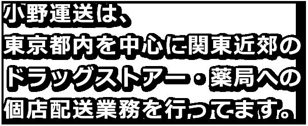 小野運送は、東京都内を中心に関東近郊のドラッグストアー・薬局への個店配送業務を行ってます。
